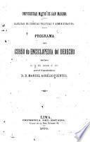 Programa del curso de enciclopedia del derecho