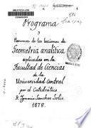 Programa y resumen de las lecciones de geometría analítica explicadas en la Facultad de Ciencias de la Universidad Central
