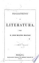 Prolegómenos de literatura