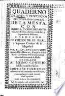 Quaderno de leyes, y privilegios del honrado Concejo de la Mesta