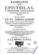Ramillete de epistolas y oraciones celestiales para secundar todo genero de espiritus