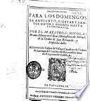 Razonamientos para los domingos de Adviento, fiestas y santos desde S. Andres hasta la Epiphania