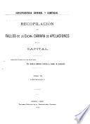 Recopilación de fallos de la excma. Cámara de apelaciones de la capital