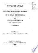 Recopilación de leyes, decretos, reglamentos y circulares que se han expedido en el estado de Michoacán