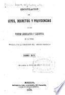 Recopilación de leyes, decretos y providencias de los poderes legislative y ejecutivo de las union