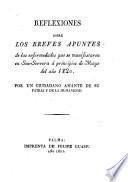 Reflexiones sobre los breves apuntes de las enfermedades que se manifestaron en Son-Servera á principios de Mayo del año 1820