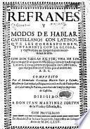 Refrance y modos de hablar castellanos