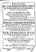 Relación de las fiestas que hizo el Colegio S. J. de Girona, en la canonización de San Ignacio y beatificación del angélico Luis Gonzaga