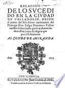 Relacion de lo svcedi do en la civdad de Valladolid