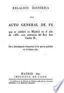 Relacion histórica del auto general de fe