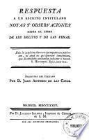 Respuesta a un escrito intitulado Notas y observaciones sobre el libro de los delitos y de las penas
