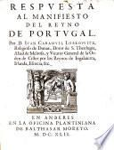 RESPVESTA AL MANIFIESTO DEL REYNO DE PORTVGAL