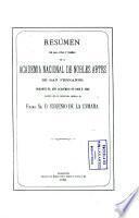 Resumen de las Actas y tareas de la Academia Nacional de Nobles Artes de San Fernando durante el año académico de 1868 a 1869