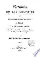 Resumen de las memorias de la Academia de Ciencias Naturales de Madrid en su primer año académico