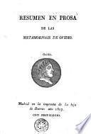 Resumen en prosa de las Metamorfosis de Ovidio
