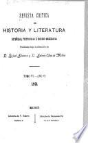 Revista crítica de historia y literatura españolas, portuguesas é hispano-americanas ...