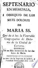 Septenario en memoria i obsequio de los siete dolores de Maria SS.