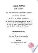 Sermón que predicó D. José Amengual, Pbro. el día 10 Oct. 1814 en la Iglesia de Montesión... con motivo de la fiesta anual a San Fco de Borja...