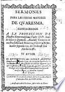 Sermones para las ferias mayores de Quaresma ...