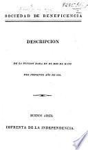 Sociedad de Beneficencia. Descripcion de la funcion dada en el mes de Mayo del presente año de 1826