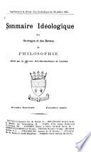 Sommaire idéologique des ourvrages et des revues de philosophie