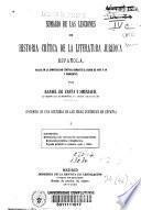Sumario de las lecciones de historia crítica de la literatura jurídica española dadas en la Universidad Central durante el curso de 1897 a 98 y siguientes