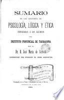 Sumario de las lecciones de psicologia, lógica y ética