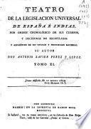 Teatro de la Legislacion Universal de España é Indias por órden cronológico de sus cuerpos, y decisiones no recopiladas y alfabético de sus titulos y principales materias