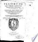 Tesoro de las tres lenguas francesa, italiana, y española