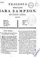 Tragedia intitulada Sara Sampson. En cinco actos