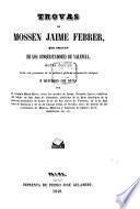Trovas de Mossen Jaime Febrer que tratan de los conquistadores de Valencia