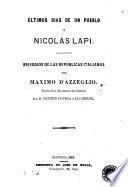 Últimos dias de un pueblo, ó, Nicolas Lapi