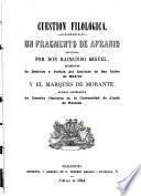 Un fragmento de Afranio, explicado por Don Raimundo Miguel, y el Marqués de Morante