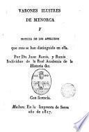 Varones ilustres de Menorca y noticia de sus apellidos
