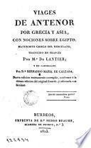 Viages de Antenor por Grecia y Asia con nociones sobre Egipto, 1