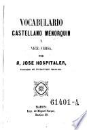 Vocabulario Castellano Menorquin y vice-versa