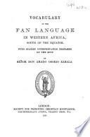 Vocabulary of the Fan language in western Africa, south of the equator
