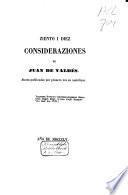 Ziento i diez consideraziones, de Juan de Valdés